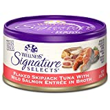 Wellness Signature Selects Natural Grain Free Wet Canned Cat Food, Flaked Skipjack Tuna With Wild Salmon Entree In Broth, 2.8-Ounce Can (Pack Of 24)