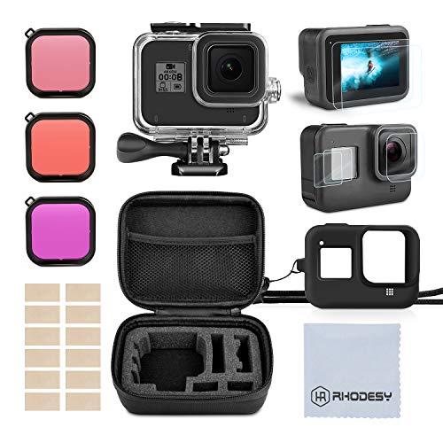 Rhodesy Kit Accessori Set per GoPro Hero 8 Black(Nero), Custodia Protettiva Impermeabile...