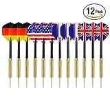 Ohuhu® 12 Pz Tip Frecce Freccette con Disegno Bandiera Nazionale (4 Stili) - Punta di Freccetta Acciaio Inox con 3 Aste PVC Gratuite