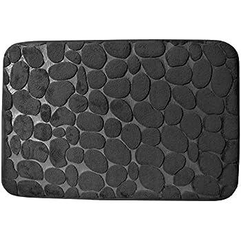 Promobo - Tapis De Salle De Bain Toucher Soft Cosy Décor Galets 40 x 60cm  Noir