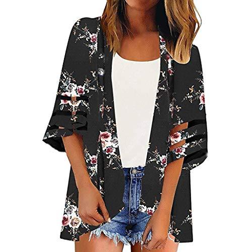 3/4 Sleeve Top-cut-out (MRULIC Mädchen V-Ausschnitt Mesh Panel Bluse 3/4 Bell Sleeve Loose Top Shirt Damen Cardigan Sonnencreme Kurzmantel Sommer Dünne Strickjacke(6-Schwarz,S))