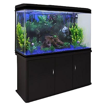 MonsterShop – Aquarium Noir de 300 Litres, Kits et Accessoires de Démarrage, Plantes, Graviers Bleu, Meuble Noir, d'une dimension totale de 143,5 cm de Haut x 120,5 cm de Large x 39 cm de Profondeur