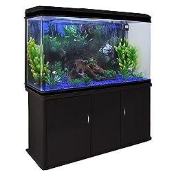 MonsterShop Fish Tank Aquarium Large Marine Tropical Salt Water & Complete Starter Kit, Filter, Air Pump, Heater Plants Ornaments Accessories/Black Cabinet, Blue Gravel 4ft 300L