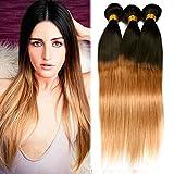 Dai Weier Tissage Bresilien en Lot 3 Ombre Blond 300g Lisse Vrai Cheveux Bresilienne Humain Hair Straight Blond Ombre Weave pas Cher 20 22 24 pouces