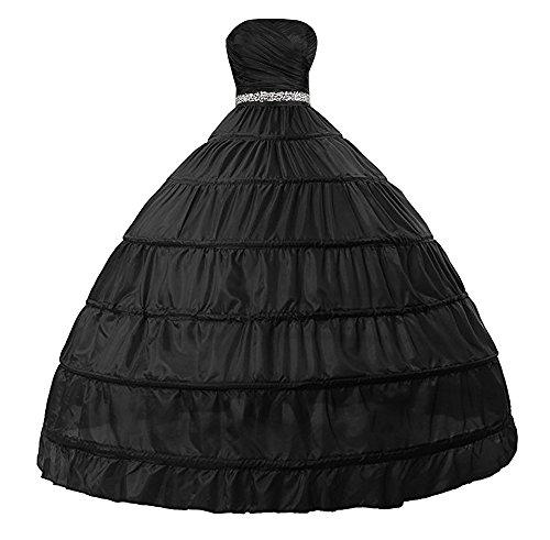 Edith qi Damen 6 Ring Verstellbar Unterrock Reifrock Petticoats Crinoline für Hochzeitskleider, One...