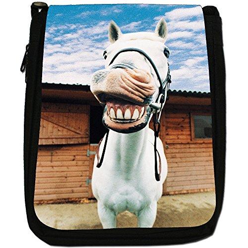 Superb eccezionale Stallion cavalli bianchi-Borsa a tracolla in tela, colore: nero, taglia: M Nero (Laughing White Horse)