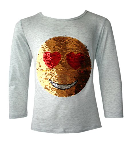 KINDER EMOJI EMOTICON SMILEY GESICHT TOPS BÜRSTE ÄNDERUNG SEQUIN 3-14 JAHRE (Lächeln T-shirt Gelben)