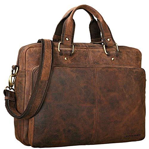 STILORD 'Gero' Vintage Ledertasche Herren braun groß 14 Zoll Laptoptasche Umhängetasche Lehrertasche Aktentasche Arbeitstasche XL Uni Rin...