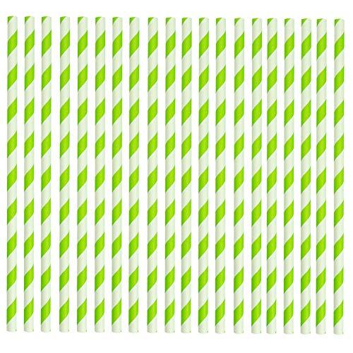 h abbaubares Papier Trinkhalme - Grün und Weiß - Packung mit 50 ()