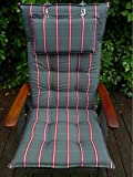 Hochlehnerauflagen Monte mit Kopfpolster Maße: ca. 119x50x8cm - Dessin 20426-701 Farbe: Grau mit schmalen roten Streifen (Auflage ohne Stuhl)