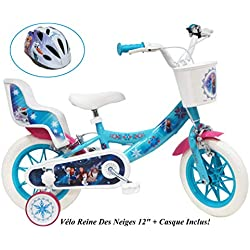 """Vélo Velo 12"""" Fille Frozen 2 FEINS Porte Poupee AR + Casque Enfants, Multicolore, 12''"""