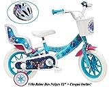 Bicicleta para niña de Frozen de 2 vías con portamuñecas AR + Casco para niños, 12 Pulgadas
