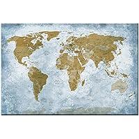 Dsign24 MAPPA DEL MONDO Stampa su Tela / Quadro, Murale 30 x 20 cm – Wall Art, Artwork, Globe Earth Planet CLASSICO Style A05050