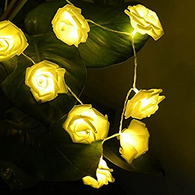 Rose Flower String Lights / Deallink Battery Operated 20 LED Fairy Lights / For Indoor, Outdoor, Garden, Fence, Party, Christmas, Wedding Decoration / Warm White