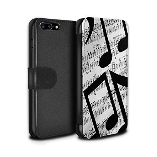 Stuff4 Coque/Etui/Housse Cuir PU Case/Cover pour Apple iPhone 8 Plus / Pétales Minuscules Design / Mode Noir Collection Drap Musique/Mélodie