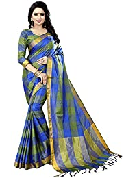 Green Cotton Woven Saree With Blouse