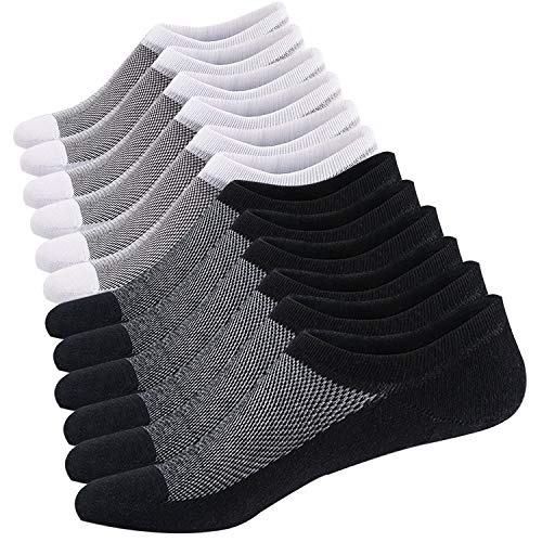 Ueither Calcetines Cortos Hombre Invisibles Respirable Calcetines tobilleros Algodón Antideslizantes (Tamaño: 44-48,...