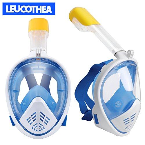 Leucothea® Volles Gesicht Unterwasser Tauchermaske Schnorchelset Easy Breath Anti-Leck und Anti-Fog mit Beatmungsschlauch kompatibel für Sport Kamera - Blau S/M