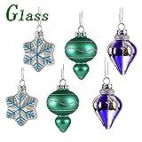 Valery Madelyn 6 Stücke 5CM Glas Weihnachtskugeln Set Der Nordstern Thema Blau Grün Silber Christbaumkugel mit Aufhänger Weihnachtsbaumschmuck Weihnachten Dekoration