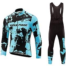 BurningBikewear Uglyfrog Ciclismo Winter Thermal Hombres Jersey + Pantalones MESQXFCX09