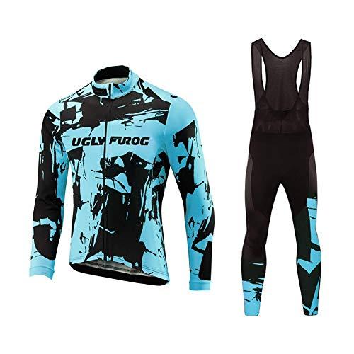 Uglyfrog Abbigliamento Ciclismo Uomo Ciclismo Maglia Traspirante Asciugatura Veloce Bicicletta Manica Lunga Camicia+Long Pantaloni Body Regali per Biciclette