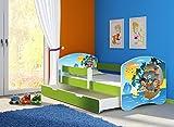 Clamaro 'Fantasia Grün' 160 x 80 Kinderbett Set inkl. Matratze, Lattenrost und mit Bettkasten Schublade, mit verstellbarem Rausfallschutz und Kantenschutzleisten, Design: 21 Piraten