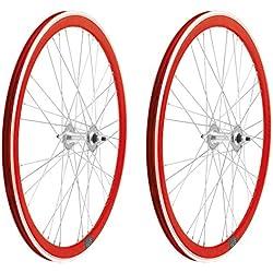 2x Llanta Rueda para Bicicleta Fixed Fixied de 700 Aluminio CNC MECANIZADO Piñon Fijo Color ROJO 3750rojo