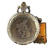 Alice im Wunderland Taschenuhr, Bronze Poket Uhren Alice im Wunderland, niedliche Uhr, Herren