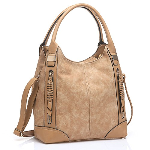 UTAKE Women Handbags Leather Handbags Shoulder Bag PU Leather Bag Large Tote Bag UT57 Apricot