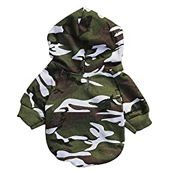 Xshuai Puppy Pet Dog Hoodie Sweatshirts Camouflage Coat Tops Clothes