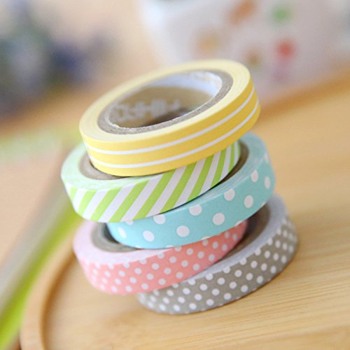 Colores enviados al Azar Cosanter Cintas Adhesivas Sticky Washi Cinta Decorativa para el Arte DIY Variedad de Opciones Adhesiva de Papel Scrapbooking,7 Piezas
