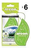 AREON Mon Ambientador Coche Montaña Fresca Verde Colgante Colgar Olor Perfume Original Cartón Retrovisor Casa Oficina 2D (Mountain Fresh Pack de 6)