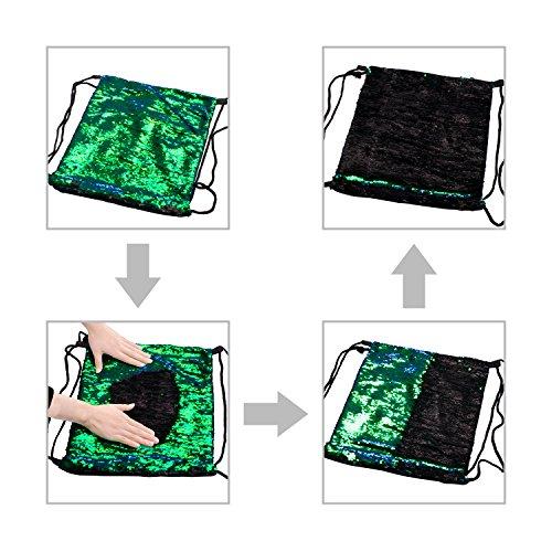Eyourlife Mermaid Paillettes Zaino con lacci Glittering Outdoor tracolla, Winmany Magic Reversibile Glitter Coulisse Zaino, Moda Bling Shining Bag, Borsa zaino sportivo (Blue/Pink) Green/Black