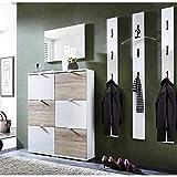 Garderoben Set Hochglanz weiß Sanremo-Eiche Schuhschrank Wandpaneele Flurgarderobe Diele Flurmöbel Spiegel B x H x T ca. 196 x 199 x 30cm