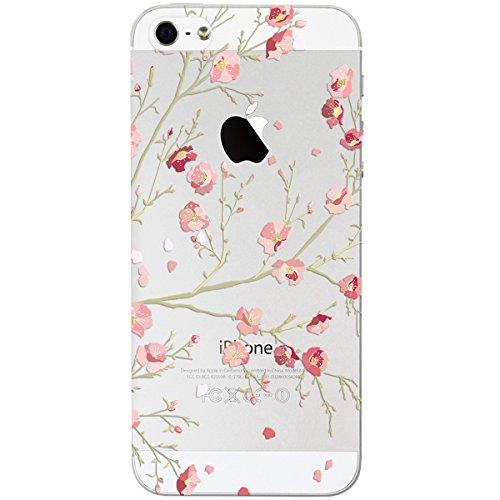 iPhone 5 / 5s / SE Hülle, Yokata PC Hart Case mit Weich Silikon Bumper Blumen Motif Schale Transparent Durchsichtig Dünn Case Schutzhülle Protective Cover - Spitze Rosa