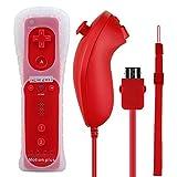2 in 1 WII Remote Nunchuk Controller, Prous XW13 WII Motion plus Fernbedienung für Nintendo Wii Rot