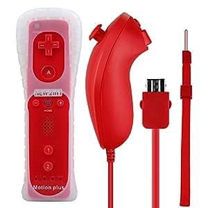 Prous Wii Remote Plus, XW05Nintendo Wii controller Nunchuck e Built-in Motion Plus motore a vibrazione con custodia in silicone cinturino da polso per Wii e Wii U xw13 xw13/red
