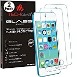 [2 Pack of] TECHGEAR® Apple iPod Touch 6 & iPod Touch 5 GLASS Edition Genuine Tempered Glass Screen Protector Guard Cover