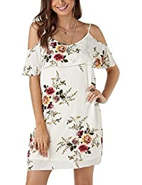 725cc724ce07 YOINS Women Cold Shoulder Dress Sexy Floral Printed Short Sleeve Mini Dresses  Summer Top Tunic