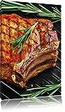 Steak Rumpsteak Fleisch Food, Format: 100x70 auf Leinwand, XXL riesige Bilder fertig gerahmt mit Keilrahmen, Kunstdruck auf Wandbild mit Rahmen, günstiger als Gemälde oder Ölbild, kein Poster oder Plakat