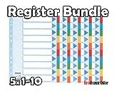 Esselte Karton-Register, blanko, A4, 10-teilig, mehrfarbig VE=5