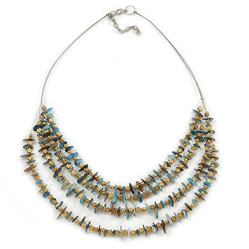 Multistrand Pale Blue Shell con pietre e perline fiore tono oro collana in argento-60cm L/5cm Ext