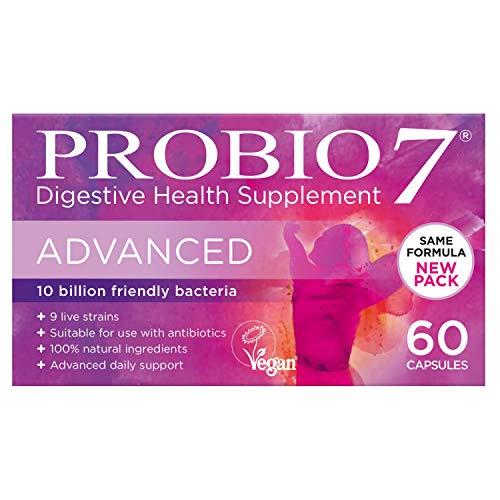 Probio7 Advanced | 9 lebende nuetzliche Bakterienstaemme | Jede Kapsel liefert 10 Milliarden gute Bakterien und 2 Arten von praebiotischen Ballaststoffen | Hohe-Staerke-Probiotika | Kulturen Komplex - Faser-ergänzung Kapseln