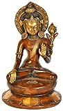 Exotic India Corona en varada Mudra Buda con Dorje (Tibetano Budista)-Estatua de latón