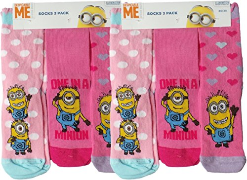 Die Minions Socken 6er Pack - One in a Minion - Pink/Rosa/Mehrfarbig