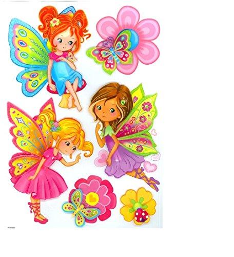 """Hochwertiger Wandtattoo Tattoo Wand Tattoo Dekosticker """"Elfen"""" Wunderschöne Elfenmädchen aus bunten Folien zieren Wände und Möbel im Zimmer und bringen Kinderaugen zum Strahlen! Glitzerpartikel lassen das Licht auf den Flügeln tanzen. künstlerisch mit außergewöhnlichem Design macht die Wand zu einen echten Blickfang"""