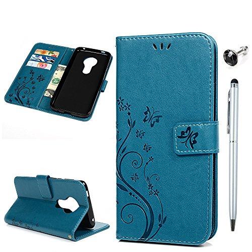 Moto G6 Play Handyhülle Motorola Moto E5 Hülle Leder Tasche Flipcase Cover Schmetterling Muster Schutzhülle Silikon Handytasche Skin Ständer Klappbar Schale Bumper Magnetverschluss Brieftasche-Türkis