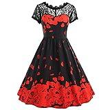 Manadlian Vintage Rose Spitzenkleid, Manadlian Damen Sommerkleid Kurzarm Brief Drucken Party Kleid Übergröße Swing Spitzenkleid Partykleid Frühling Sommer Herbst (3XL, Rot)