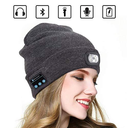 Bluetooth Beanie Music Hat mit LED-Licht Windproof und Snowproof Headset Musik Kopfbedeckungen Cap mit Wireless Stereo Kopfhörer Headset Kopfhörer Lautsprecher für den Winter...