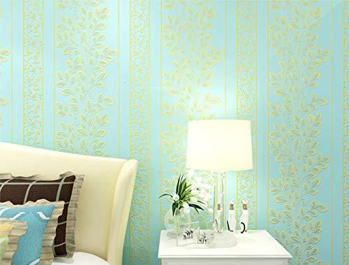 ModernMinimalist Vliestapete Roll Garden Leaves Vines Stripes Wallpaper für Fernseher Hintergrund Wand Schlafzimmer 0,53 X 10M, Hellblau GE21704 -